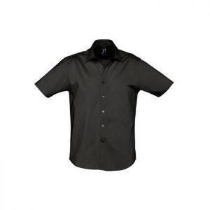 sol-s-bristol-16050-ανδρικό-πουκάμισο-65-πολυεστέρας-35-βαμβάκι-poukamisa-mayro-market4sportsgr
